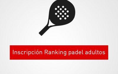 Inscripción Ranking padel adultos